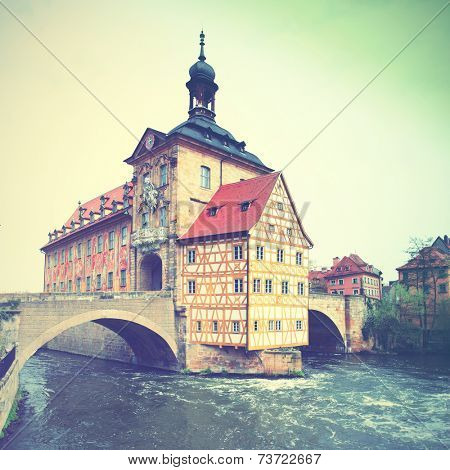 The town hall on the bridge in Bamberg, Germany. Instagram style filtred image