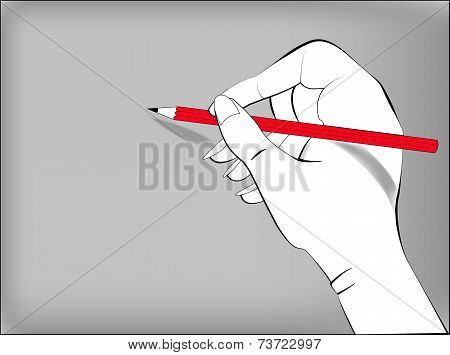 Drawing  Hand With A Pencil