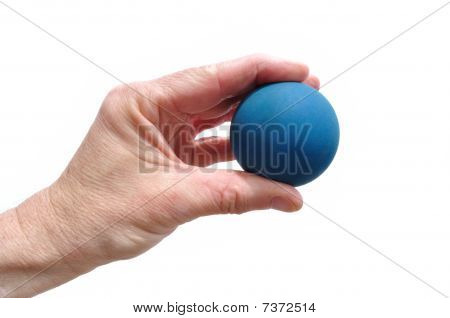 Player Holding Blue Rubber Racquetball