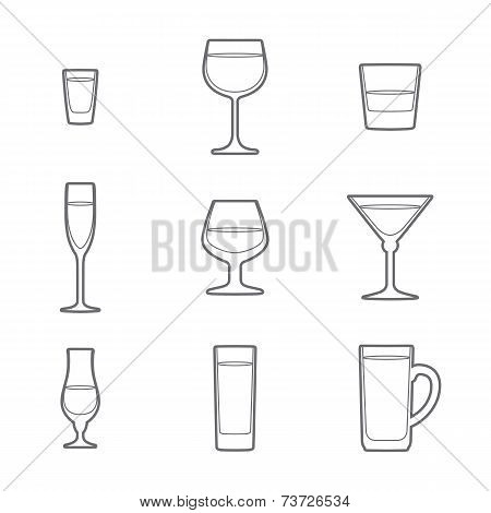outline alcohol glasses icon set