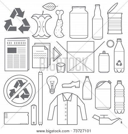 recycling and various waste icons