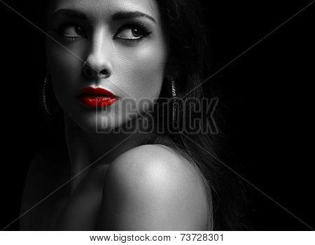 Beautiful Mysterious Woman In Darkness Looking Dramatic With Red Lips