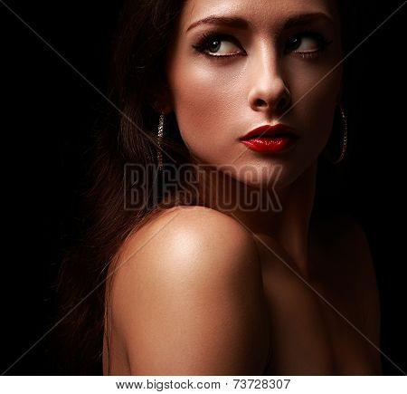 Closeup Art Portrait Of Beautiful Woman With Red Lipstick On Black