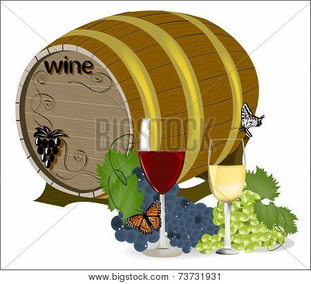 Barrel Of Wine With Grapes And A Glass In The Foreground