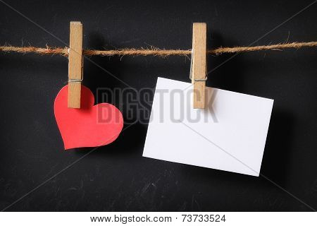 Heart With Empty Poster Hanging