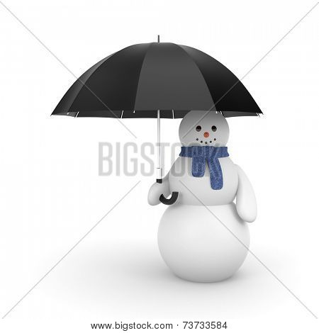 Snowman with umbrella