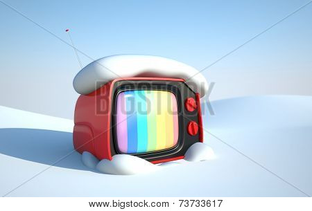 Stylish retro TV in snow