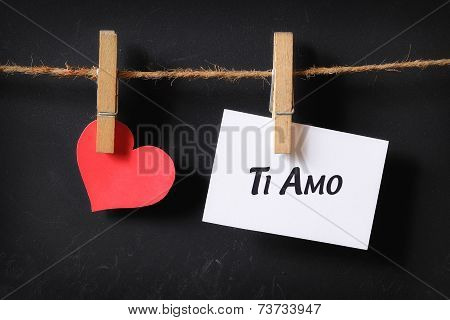 Heart With Ti Amo Poster Hanging