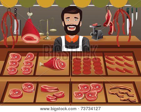 Meat Seller In A Farmer Market