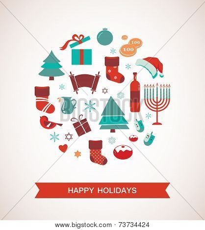merry christmas and happy hanukkah. seasonal objects