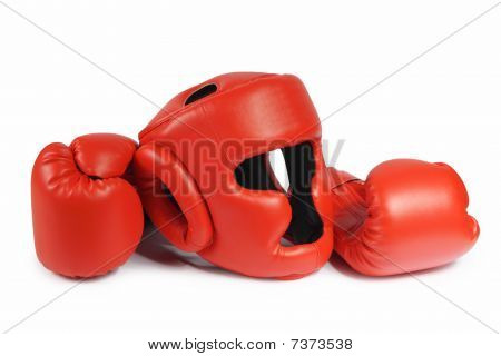 Red Boxing-gloves And Helmet. (isolated)