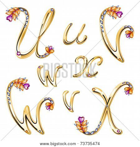 Bronze Alphabet With Colored Gems Letters U,v,w,x