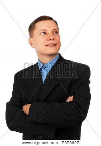 Confident Young Business Man With Hands Folded
