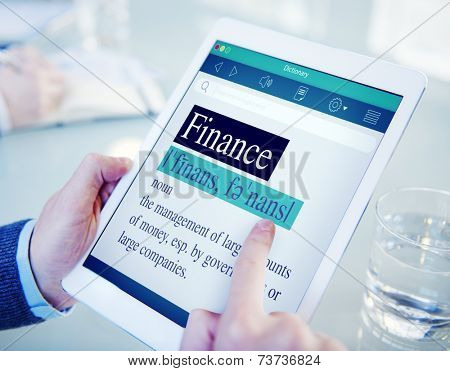 Hands Holding Digital Tablet Dictionary