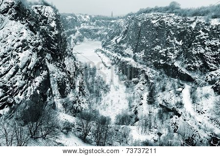 Stone quarry Big America in winter near Prague, Czech Republic