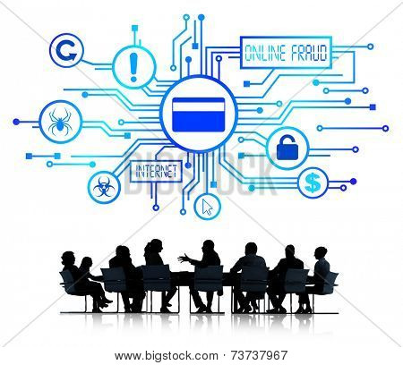 Group of Corporate People having a Meeting about Online Fraud
