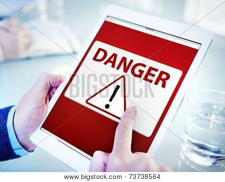 Man Using a Digital Tablet with Virus