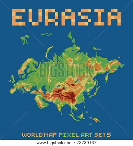 pixel art style illustration of eurasia physical world map