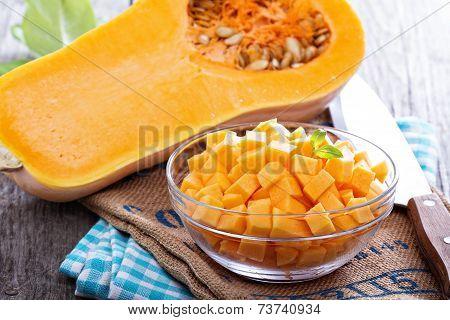 Diced butternut squash in a bowl