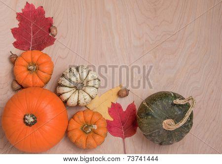 Autumn Border On Wood