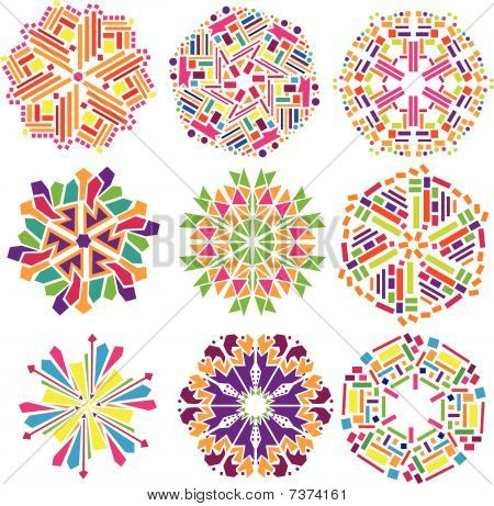 Colorful geometrical ornaments vector