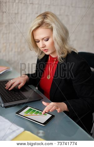 Businesswoman Calculating Insurance In Office