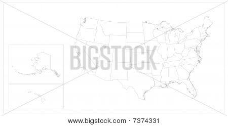 USA States Map Keyline