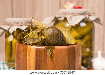 Pickled Gherkins In Glass Jars