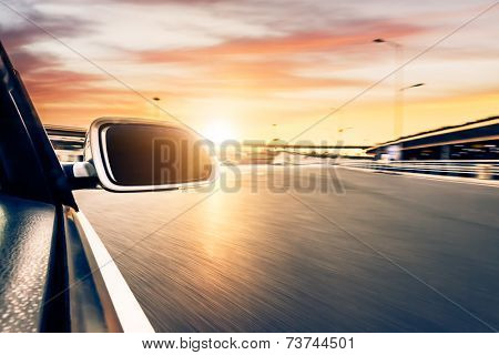 car on the road whit motion blur background