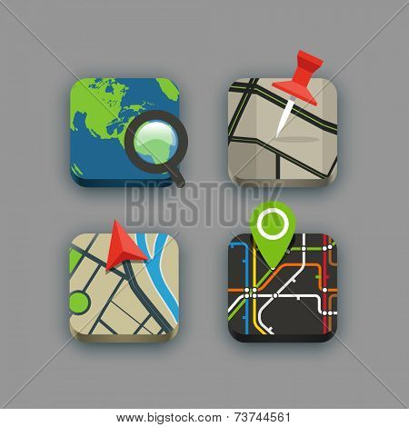 Different travel icons set with rounded corners. Design elements