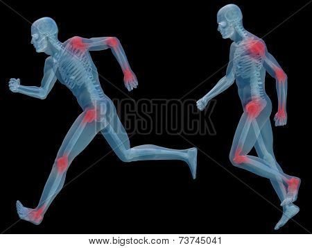 3D human or man with muscles for anatomy or health designs with articular or bones pain. A male isolated on black background