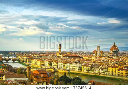 Florence Sunset Aerial Cityscape. Panorama View From Michelangelo Park