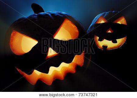 Halloween pumpkins close-up ( jack o'lantern )