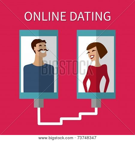 Internet dating, online flirt and relation. Mobile service
