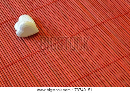 Two Hearts On Red Bamboo Diagonal