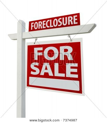 Foreclosure Real Estate Sign Isolated - Right