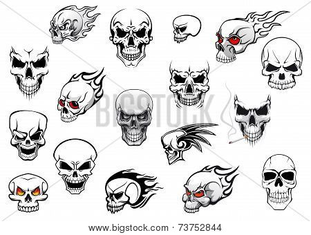Collection of Halloween and horror skulls