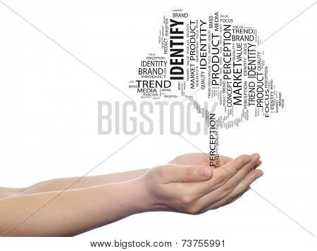 Concept or conceptual tree media identify word cloud tagcloud in man or woman hand isolated on white background