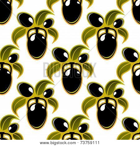 Black olives seamless background pattern