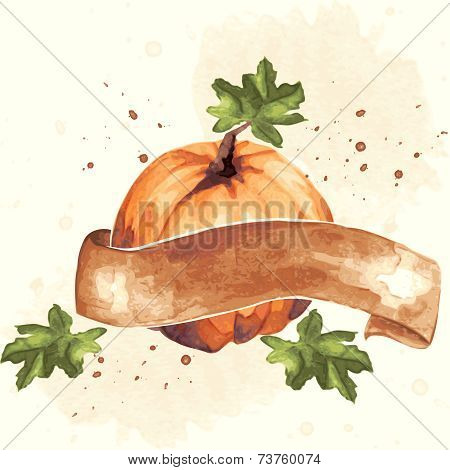Vintage watercolor pumpkin illustration