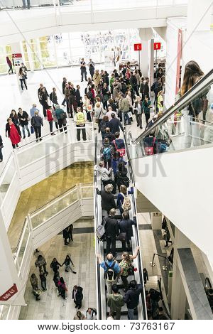 Public Day For Frankfurt Book Fair, Visitors Inside The Hall