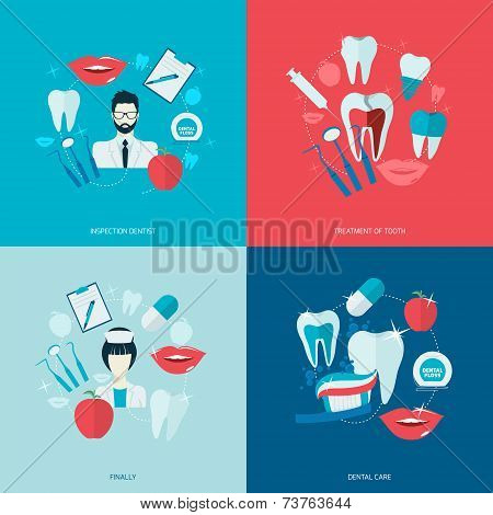 Teeth icons flat