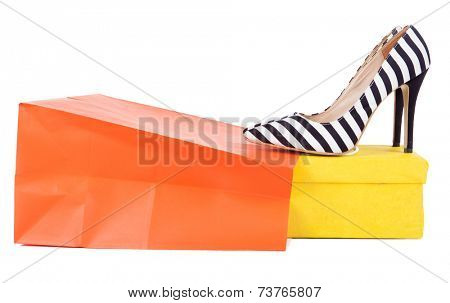 Stripy high heels shoes with box and bag, shopping concept