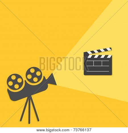 Cinema projector with light Open movie clapper board template icon. Flat design style.