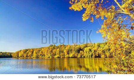 Lake In An Autumn Day.
