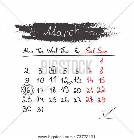 Handdrawn calendar March 2015. Vector.