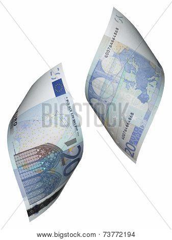 Twenty Euro Bill Collage Isolated On White