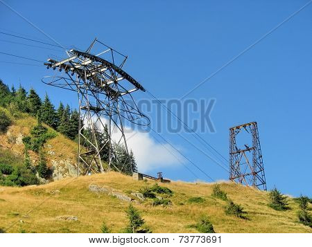 Pylon of cablecar in high mountains
