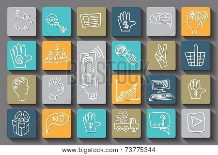 Doodle business seo long shadow icons . Outline sketchy