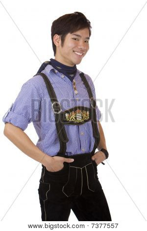 Young Handsome Man In Bavarian Oktoberfest Leather Trousers (lederhose)